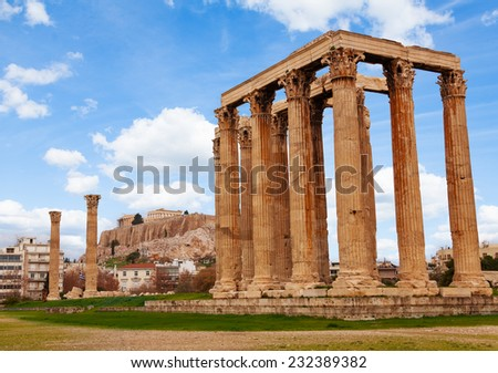 Zeus temple Athens with Acropolis in Greece - stock photo