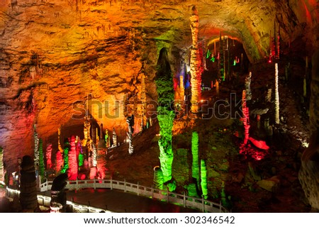 ZHANGJIEJIA,CHINA-JUNE 10 : Huanglong Cave is a beautiful karst cave near the Wulingyuan district , Hunan, China and a national 4A rated scenic area on June 10,2015.Located in Zhanjiejia city, China.
