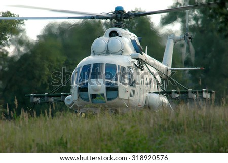 Zhitomir, Ukraine - September 6, 2006. Mi-8 helicopter of the peacekeeping contingent of the Armed Forces of Ukraine, before take-off - stock photo