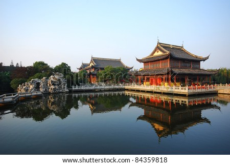 ZhouZhuang ancient temple - stock photo