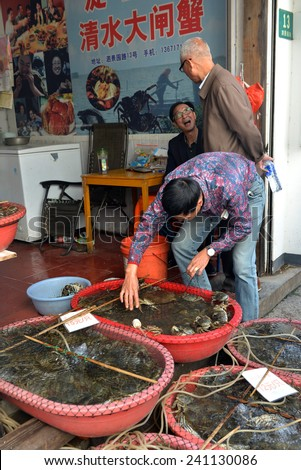 ZHUJIAJIAO, CHINA - NOVEMBER 10, 2014: Live crabs for sale at a small shop in the ancient water town of Zhujiajiao located in the Qingpu District of Shanghai.  - stock photo