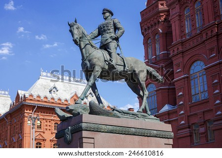 Zhukov monument in Moscow, Russia