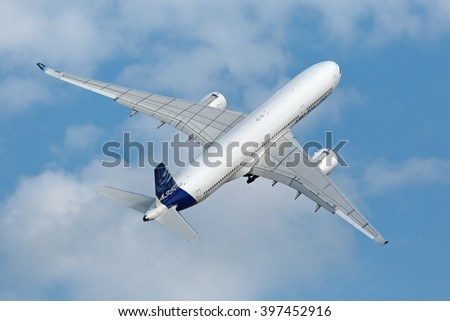 ZHUKOVSKY, MOSCOW REGION, RUSSIA - AUG 27, 2015: Airbus A350-900 is a long-range wide-body twin-engine passenger jet airliner at the International Aviation and Space salon MAKS-2015 - stock photo