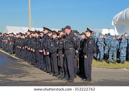 ZHUKOVSKY, MOSCOW REGION, RUSSIA - AUG 25, 2015: Squads of police lined up for briefing on safety measures at the International Aviation and Space salon MAKS-2015 - stock photo