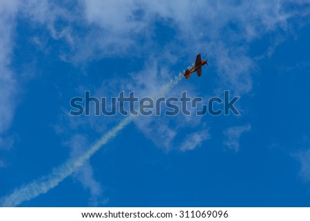 ZHUKOVSKY, MOSCOW REGION, RUSSIA - AUGUST 29, 2015: Aerobatic Team 1Polet at WorldWide AirShow MAKS-2015 in Zhukovsky, Moscow region, Russia. - stock photo