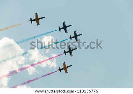 ZHUKOVSKY, MOSCOW REGION/RUSSIA - AUGUST 10: Aerobatic team Rus� on Aero L-39 Albatros aircrafts in airshow devoted to 100th anniversary of Russian Air Forces on August 10, 2012 in Zhukovsky.
