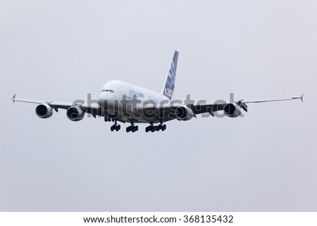 ZHUKOVSKY, MOSCOW REGION, RUSSIA - AUGUST 30, 2013: Airbus Industrie A380 F-WWDD modern civil airliner landing after a demo flight in Zhukovsky during MAKS-2013 airshow.