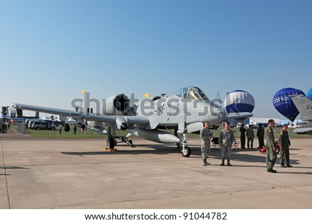 ZHUKOVSKY, RUSSIA - AUG 16: Fairchild Republic A-10 Thunderbolt II is an American  jet aircraft at the International Aviation and Space salon (MAKS) on August 16, 2011 in Zhukovsky, Russia - stock photo