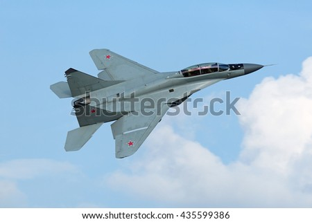 ZHUKOVSKY, RUSSIA - AUG 27, 2015: The Mikoyan MiG-35 (Fulcrum-F) is a Russian perspective multi-role fighter of 4++ generation at the International Aviation and Space salon MAKS-2015 - stock photo