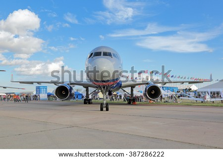 ZHUKOVSKY,  RUSSIA - AUG 30, 2015: The Tupolev Tu-214 is a Russian twin-engined medium-range jet airliner flying on Treaty on Open Skies at the International Aviation and Space salon MAKS-2015