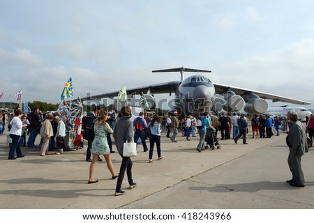 ZHUKOVSKY, RUSSIA - AUGUST 30,2013:Military transport aircraft Il-76MD-90A at the air show MAKS 2013.  - stock photo