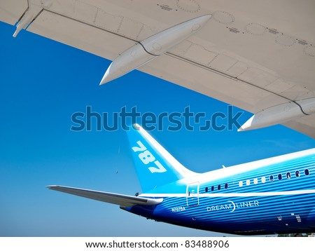 ZHUKOWSKY, RUSSIA - AUGUST 16: Tail and wing of Boeing Dreamliner at International Aviation & Space Salon in Moscow MAKS, August 16 2011, Russia