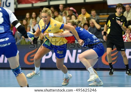 ZIELONA GORA, POLAND - DECEMBER 7, 2016: Women friendly tournament  match Island - Sweden. In action Johanna Westberg.