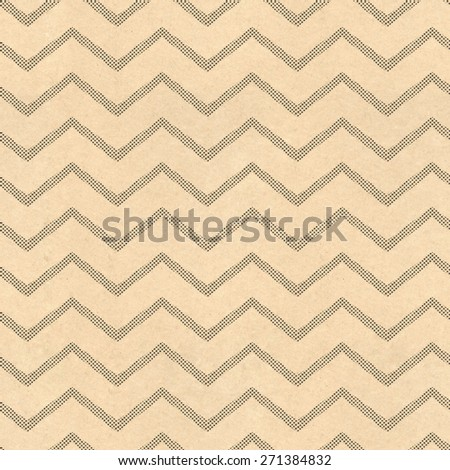 Zig zag pattern background with vintage paper and black screen dot stripes - stock photo