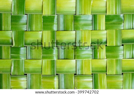 Zigzag interlocking of leaf, Green leaf background abstract, Green woven Background - stock photo