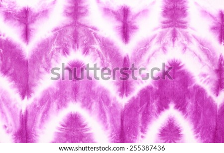 zigzag tie dyed pattern on cotton fabric for background.  - stock photo