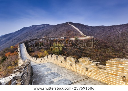 Zigzags of Chinese The Great Wall near Beijing diminishing at mountain's summit under blue clear sky - stock photo
