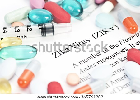 Zika virus concept photo with syringes and medication. - stock photo