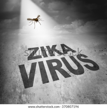 Zika virus risk symbol as the shadow of a disease carrying mosquito forming text that represents the danger of transmitting infection through bug bites resulting in zika fever. - stock photo