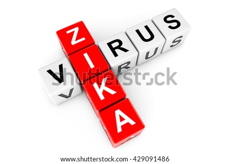 Zika Virus Sign as crossword blocks on a white background. 3d Rendering