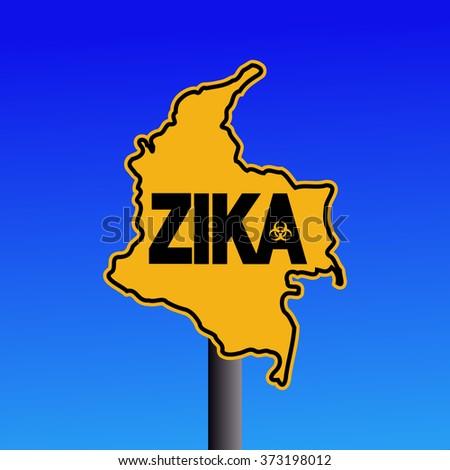 Zika virus warning Colombia map sign on blue illustration - stock photo
