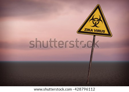 Zika Virus Warning Sign on a sky background. 3d Rendering