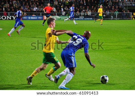 ZILINA, SLOVAKIA - SEPTEMBER 15: MSK Zilina vs Chelsea FC player of Chelsea Nicolas Anelka in action at the match of European Champions League on September 15, 2010 in Zilina, Slovakia. - stock photo