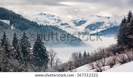 Zillertal at a winter day, Tyrol, Austrian Alps - stock photo