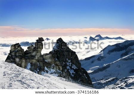 Zillertal Hintertuxer Glacier - Austria, EU - stock photo