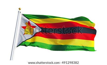 Zimbabwe flag waving on white background, close up, isolated with clipping path mask alpha channel transparency