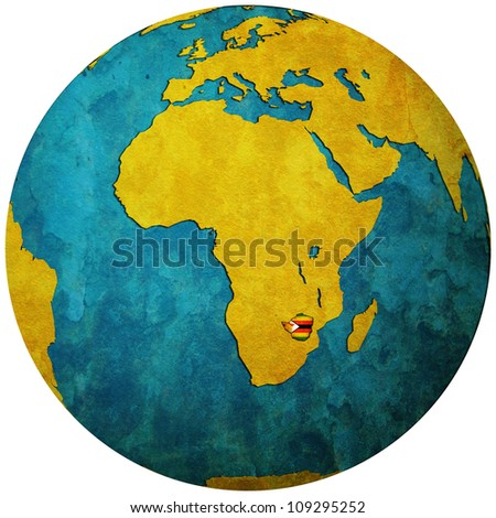zimbabwe territory with flag on map of globe