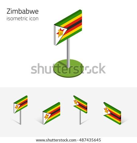 Zimbabwean Flag Republic Zimbabwe Set Isometric Stock Illustration - Republic of zimbabwe map