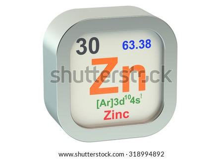 Zinc Element Symbol Isolated On White Stock Illustration 318994892