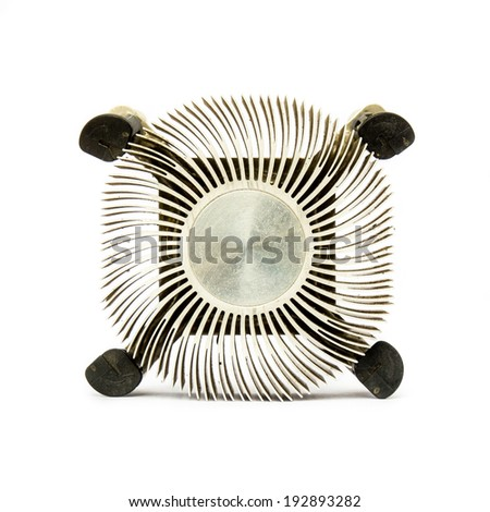 Zinc for cpu fan, hardware computer isolated on white background. - stock photo