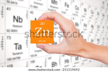 Zinc symbol handheld in front of the periodic table - stock photo
