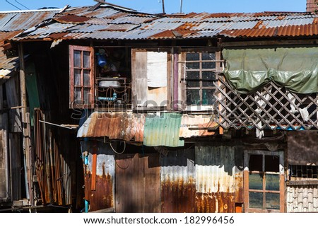 Zinc vintage old house in thai style, Thailand.  - stock photo