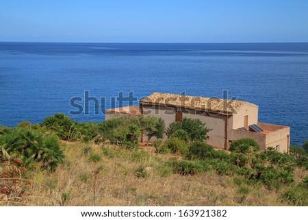 Zingaro Natinal Park - a view of a typical sicilian house, Sicily, Italy - stock photo
