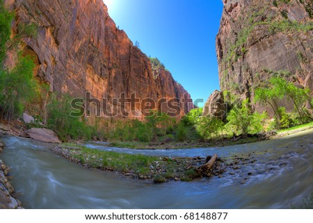 Zion Canyon and the Virgin River - stock photo