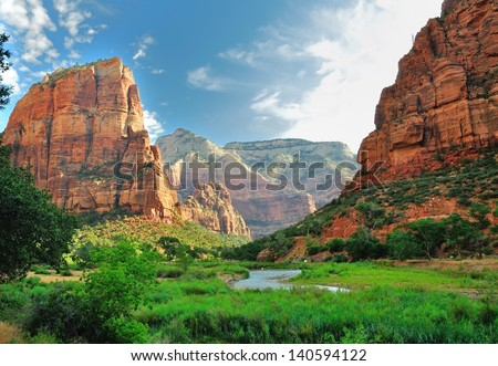 Zion Canyon, with the virgin river, Zion National Park, Utah, USA - stock photo
