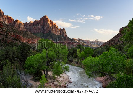Zion National Park in Spring - The Watchman - stock photo