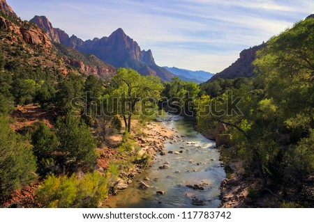 Zion National Park is located in the Southwestern United States, near Springdale, Utah - stock photo