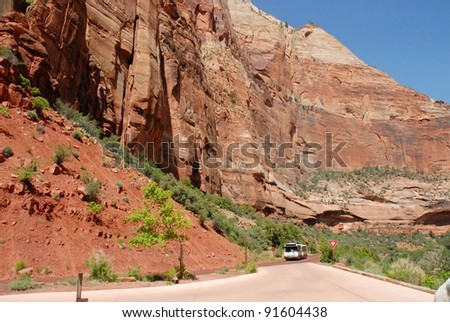Zion National Park Mountain Wall in Utah, USA - stock photo