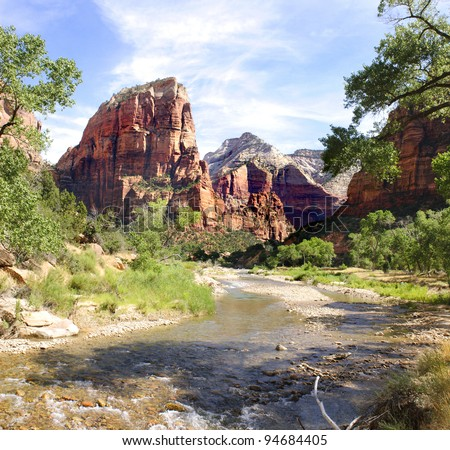 Zion National Park, Utah, USA canyon looking along the river - stock photo