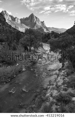 Zion National Park, Virgin River and Watchman Mountain - stock photo