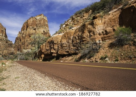 Zion Park Road. Zion National Park Road in Utah, USA. - stock photo