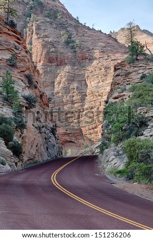 Zion Park Scenic Byway,  it runs through Zion National Park and another 12 miles to Mount Carmel Junction, in Utah, USA in America - stock photo