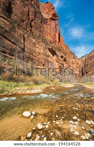 Zion Virgin River Clear Waters. Zion National Park, Utah, USA. - stock photo