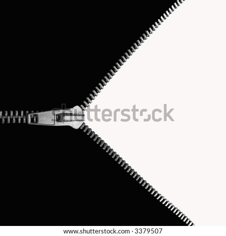 zip, from black to white - stock photo