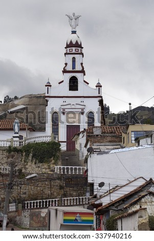 ZIPAQUIRA, COLOMBIA - OCTOBER 22, 2015: Church in Zipaquira. The town is primarily known for its Salt Cathedral, an underground church built inside a salt deposit in a tunnel.