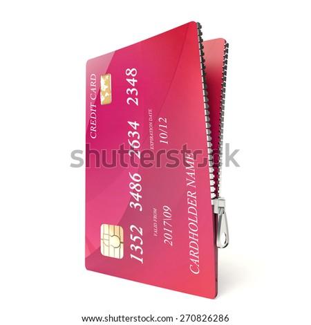 Zipped credit card - stock photo